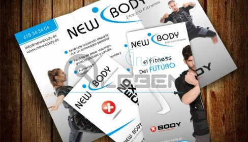 Diseño de Flyers y Trípticos para New Body Electrofitness