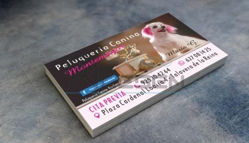 Diseño e Impresión Tarjetas Visita Peluquería Canina Montemayor