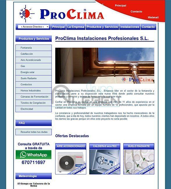 Desarrollo de WEB Corporativa de PROCLIMA INST. PROF.