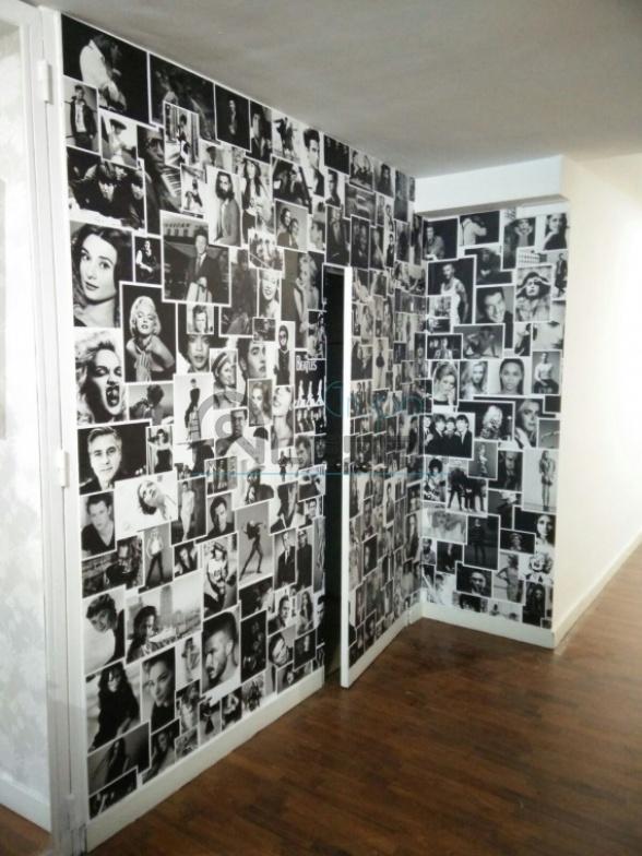 Diseo Mural de Fotos Retro Vinilo Impreso para Pared Aleben