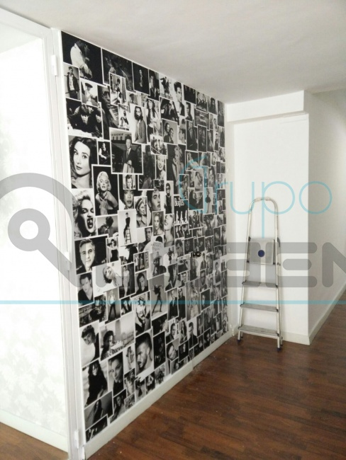 Dise o mural de fotos retro vinilo impreso para pared - Disenos de vinilos ...